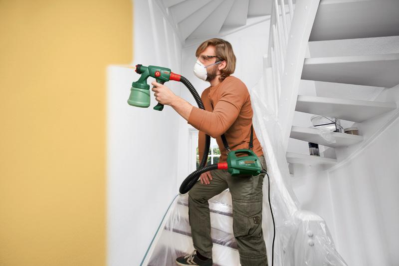 pistolet peinture pfs2000 bosch bois mur. Black Bedroom Furniture Sets. Home Design Ideas