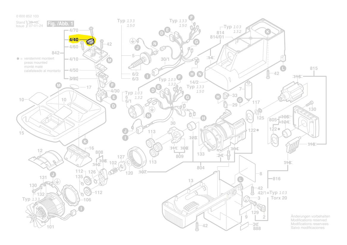 commutateur 1602025029 broyeur axt2500hp axt2200hp bosch. Black Bedroom Furniture Sets. Home Design Ideas