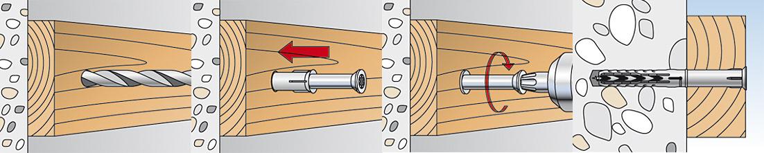 Cheville sxr t fischer fixation ossature bois cadre for Cheville bois pour charpente