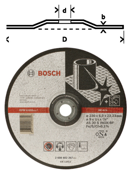 meule as30s inox bf bosch moyeu d port 115 125 150 180 230mm. Black Bedroom Furniture Sets. Home Design Ideas