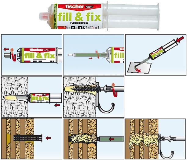 Cheville liquide fill fix fischer ancrage chimique r paration trou - Cheville brique creuse charge lourde ...