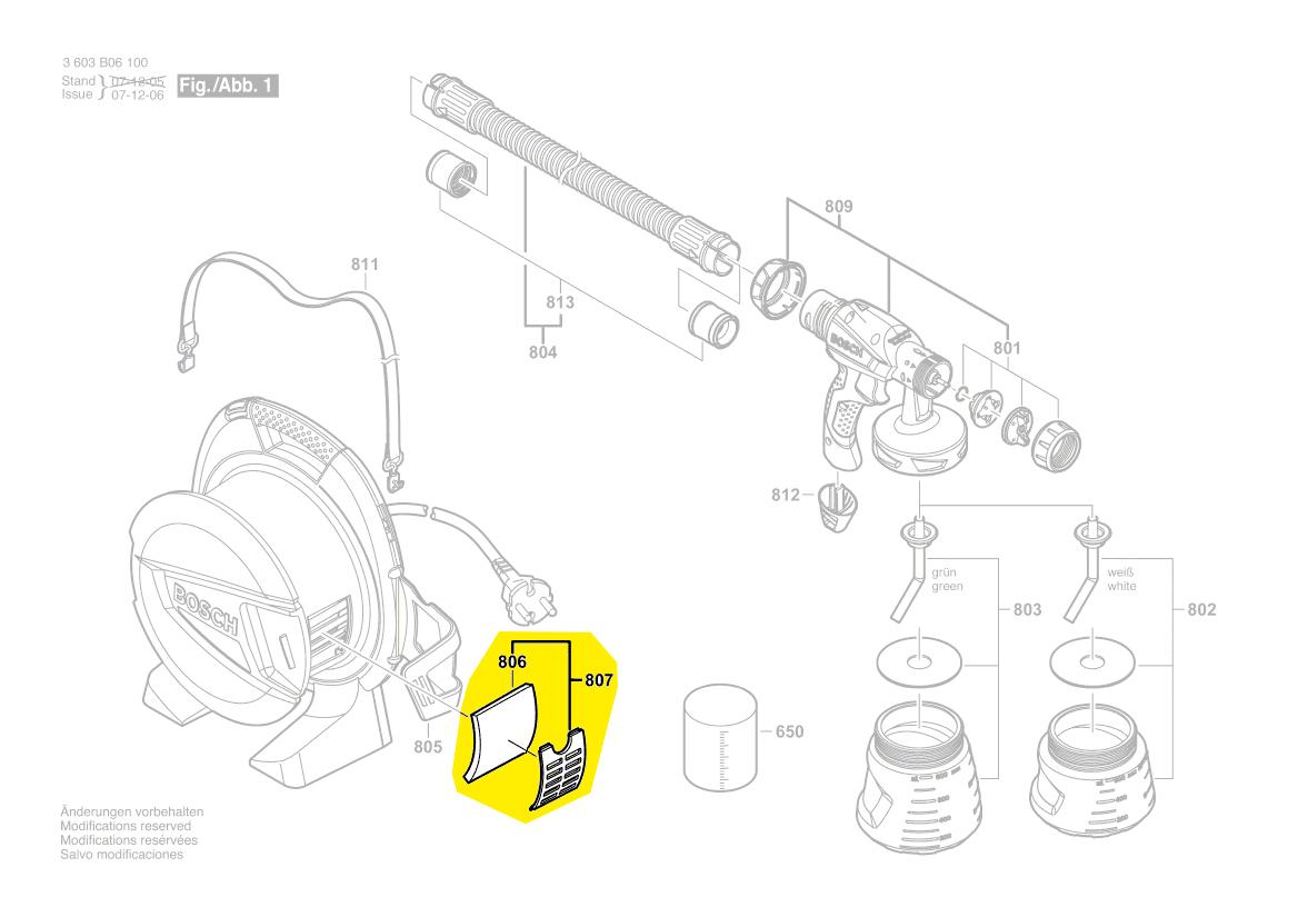 filtre air couvercle pistolet peinture pfs65 bosch 1609203w65. Black Bedroom Furniture Sets. Home Design Ideas