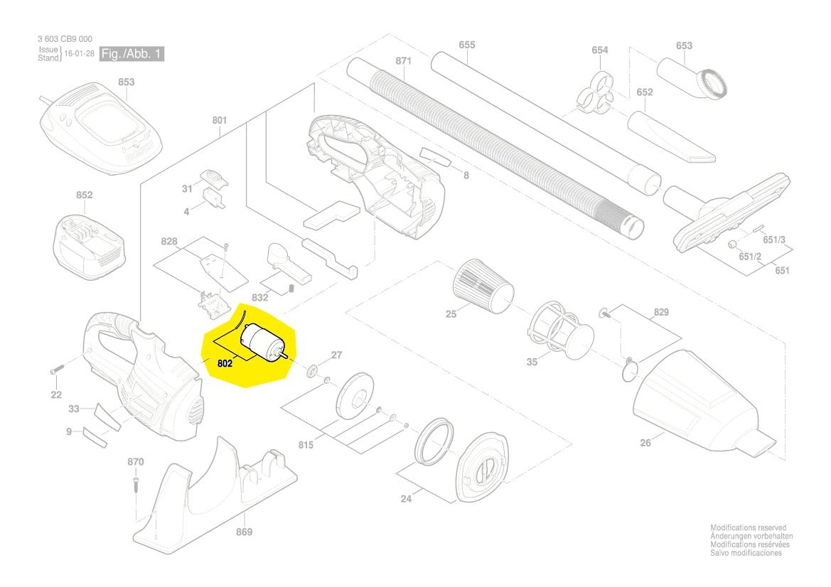 moteur aspirateur pas18li bosch 1619pb1821 pi ces d tach es. Black Bedroom Furniture Sets. Home Design Ideas