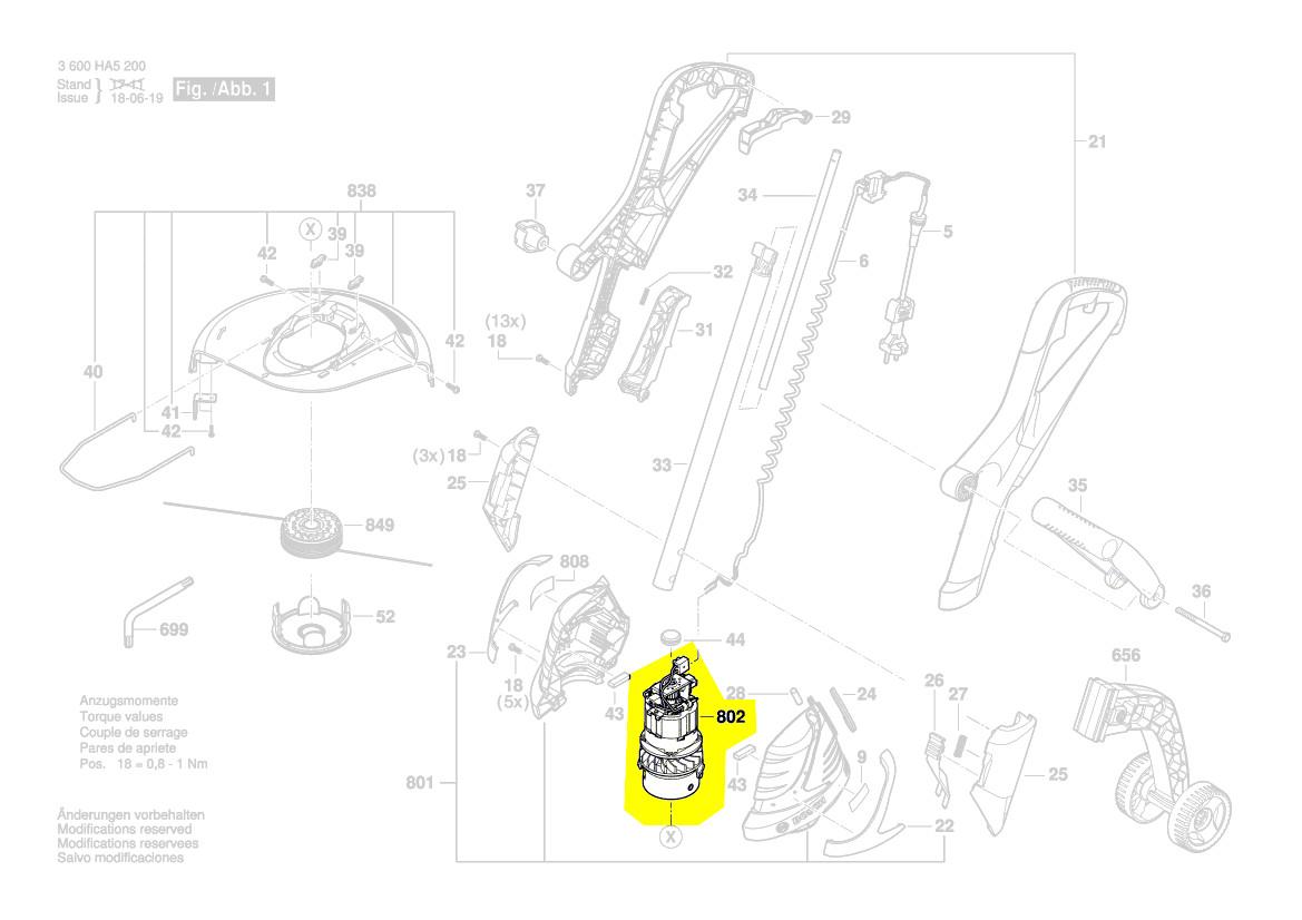 Moteur coupe bordure art 30 bosch pi ce d tach e 1 607 - Coupe bordure bosch art 30 combitrim ...