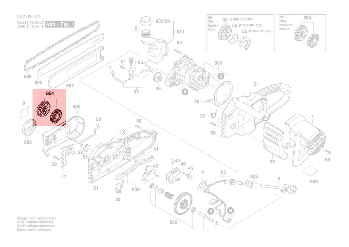 Bouton Tension Chaine Ake45s Ake40s Ake35s Ake30s Bosch Pièce 2609004723