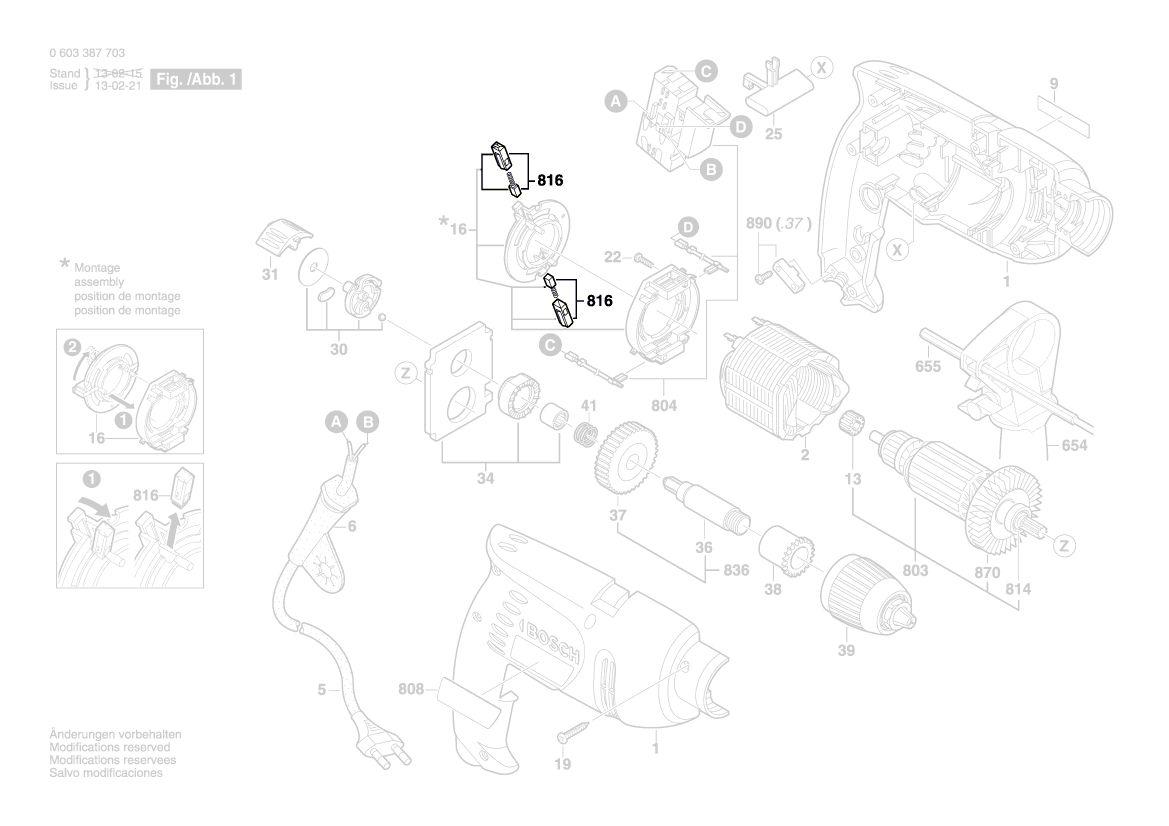 Balais de Charbon Charbon à Moteur Pour Bosch 5x8mm Csb 500 Rle 2604321905