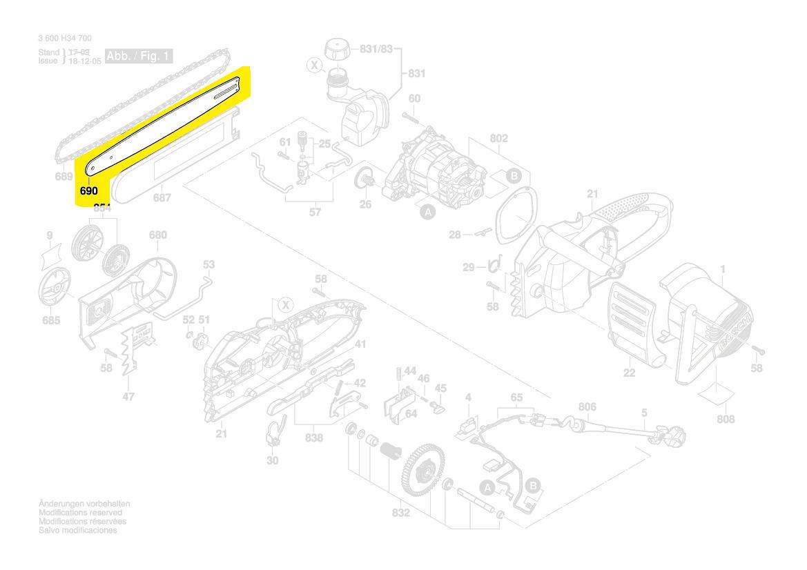 Guide Chaine Tronçonneuse électrique Ake45s Bosch Pièce Détachée