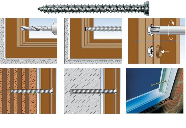 Vis fixation montage fenêtre PVC fenêtres métallique aluminium Fischer